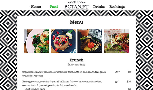The Botanist menu page