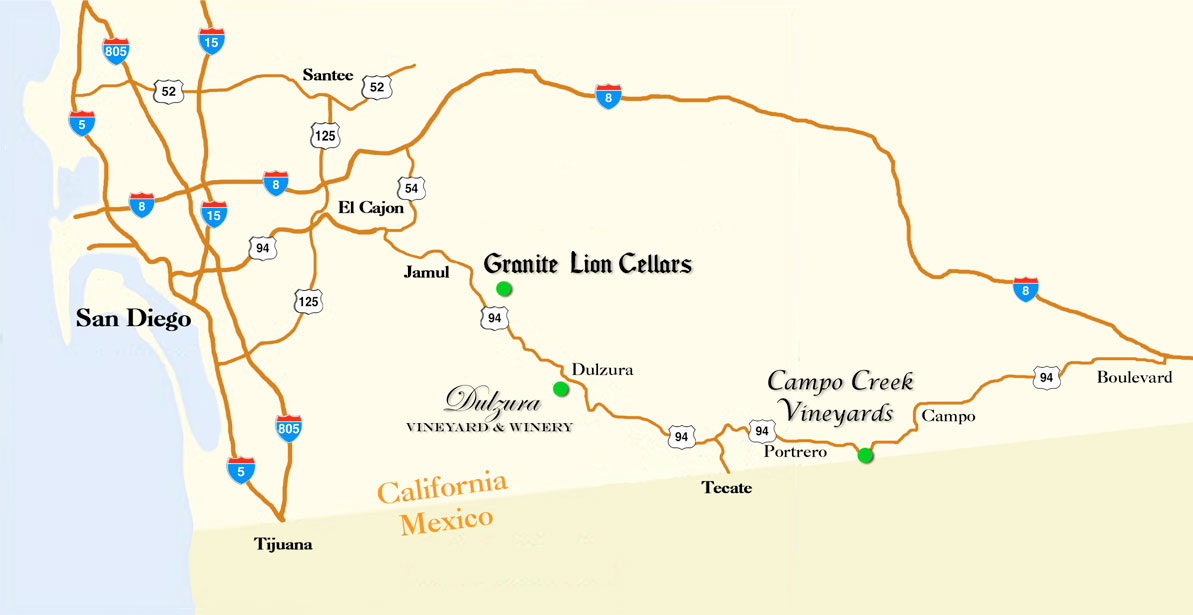 Wineries on Highway 94 map