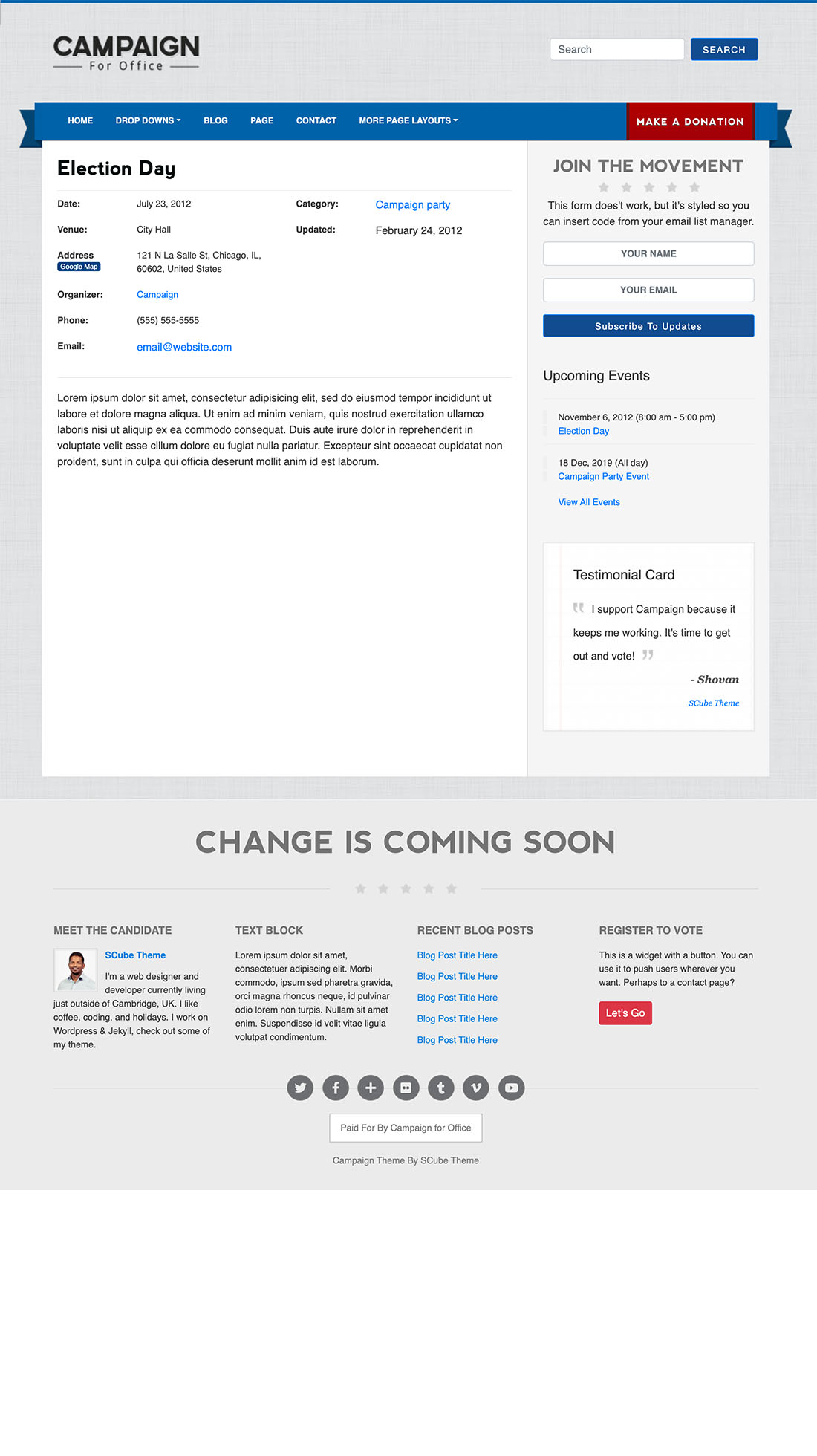 Page events best political wordpress theme