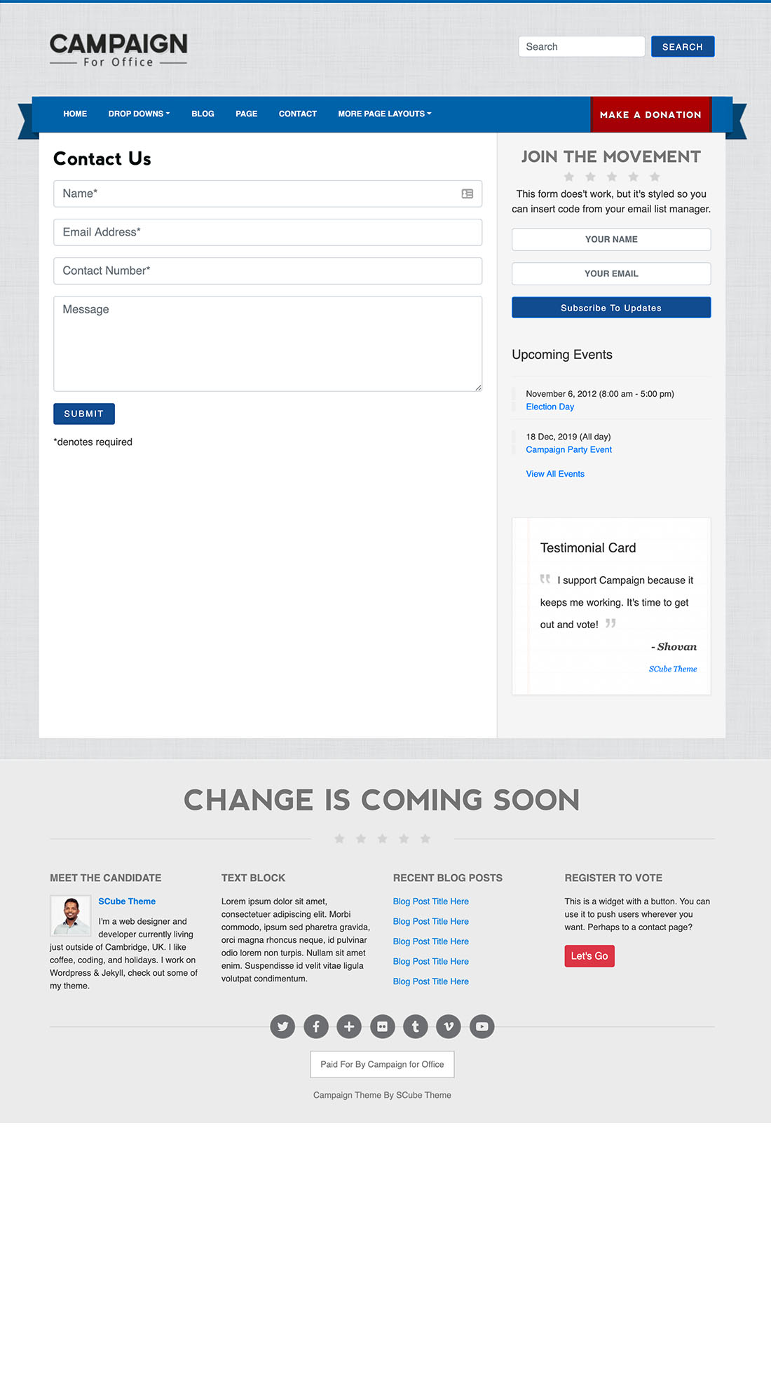 Page contact wordpress theme political candidate