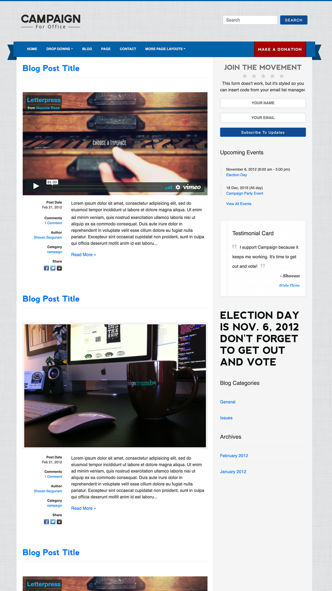 Blog political candidate wordpress theme
