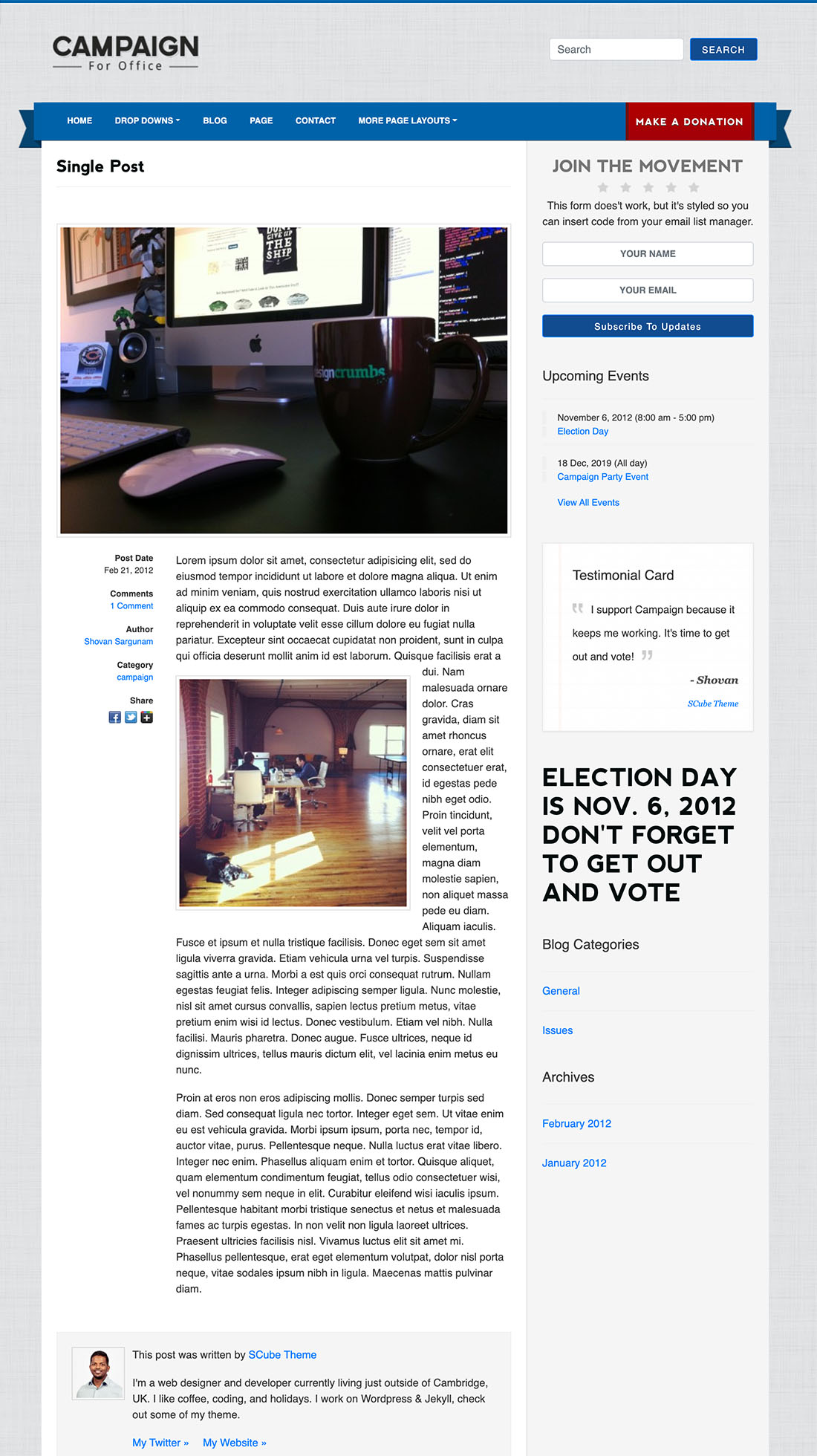 Single political wordpress theme frontrunner