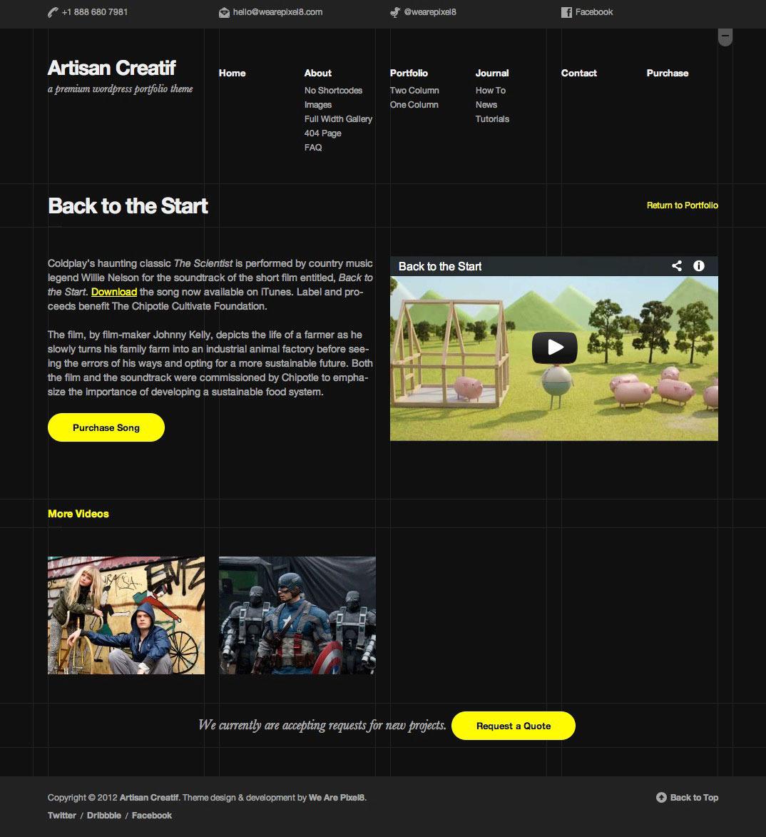 Artisan Creatif portfolio dark