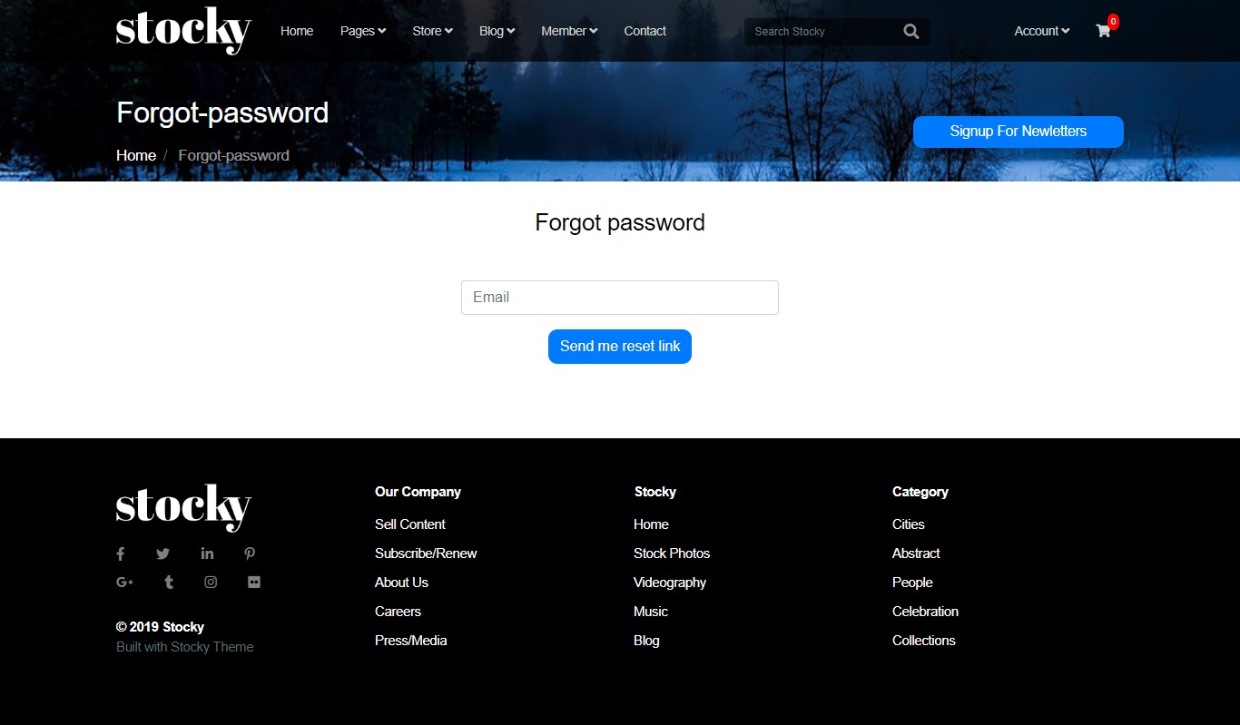 Stocky jekyll Forgot Password Page