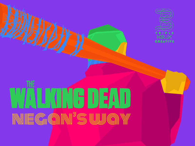 Triple Helix Creative draws Negan's Way from Walking Dead Season 7 (Walking Dead Season Seven) with bright fun colors in Charleston, SC.