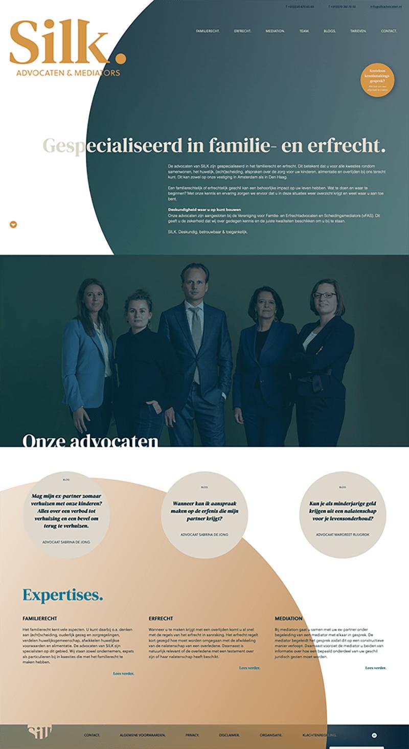 A screenshot of the silkadvocaten.nl website.