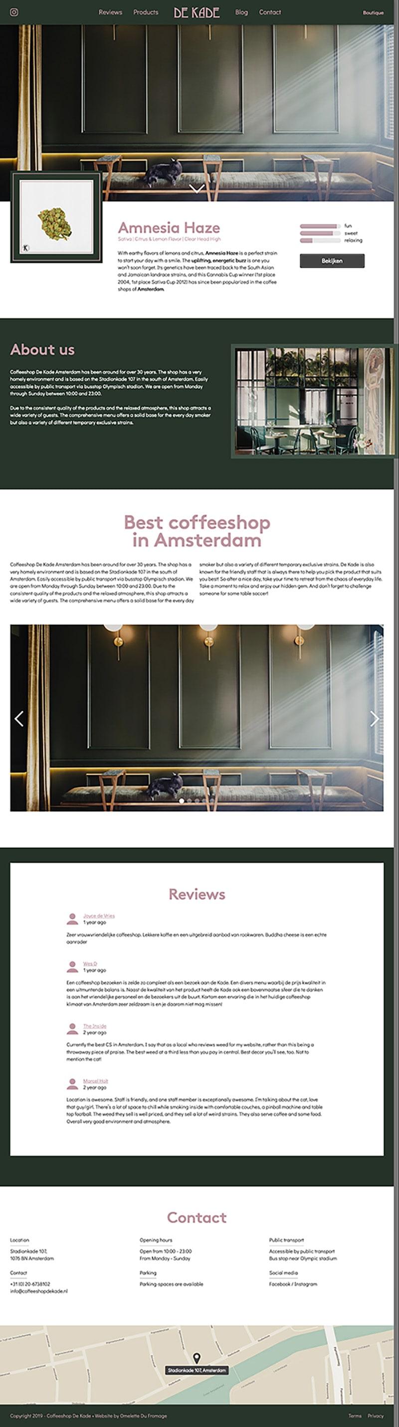 A screenshot of the coffeeshopdekade.nl website.