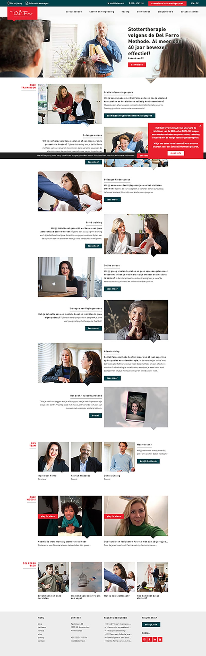 A screenshot of the delferro.nl website.