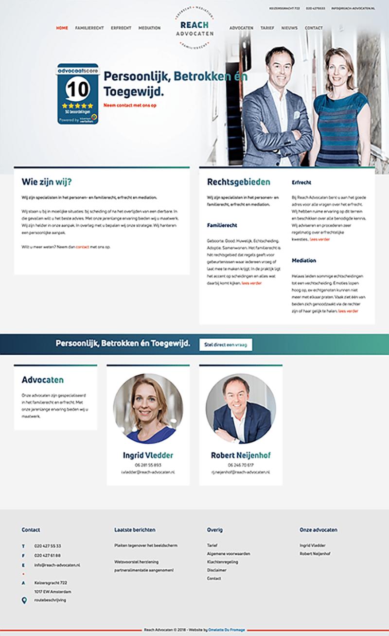 A screenshot of the reach-advocaten.nl website.