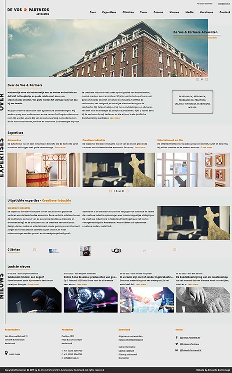 A screenshot of the devos.nl website.