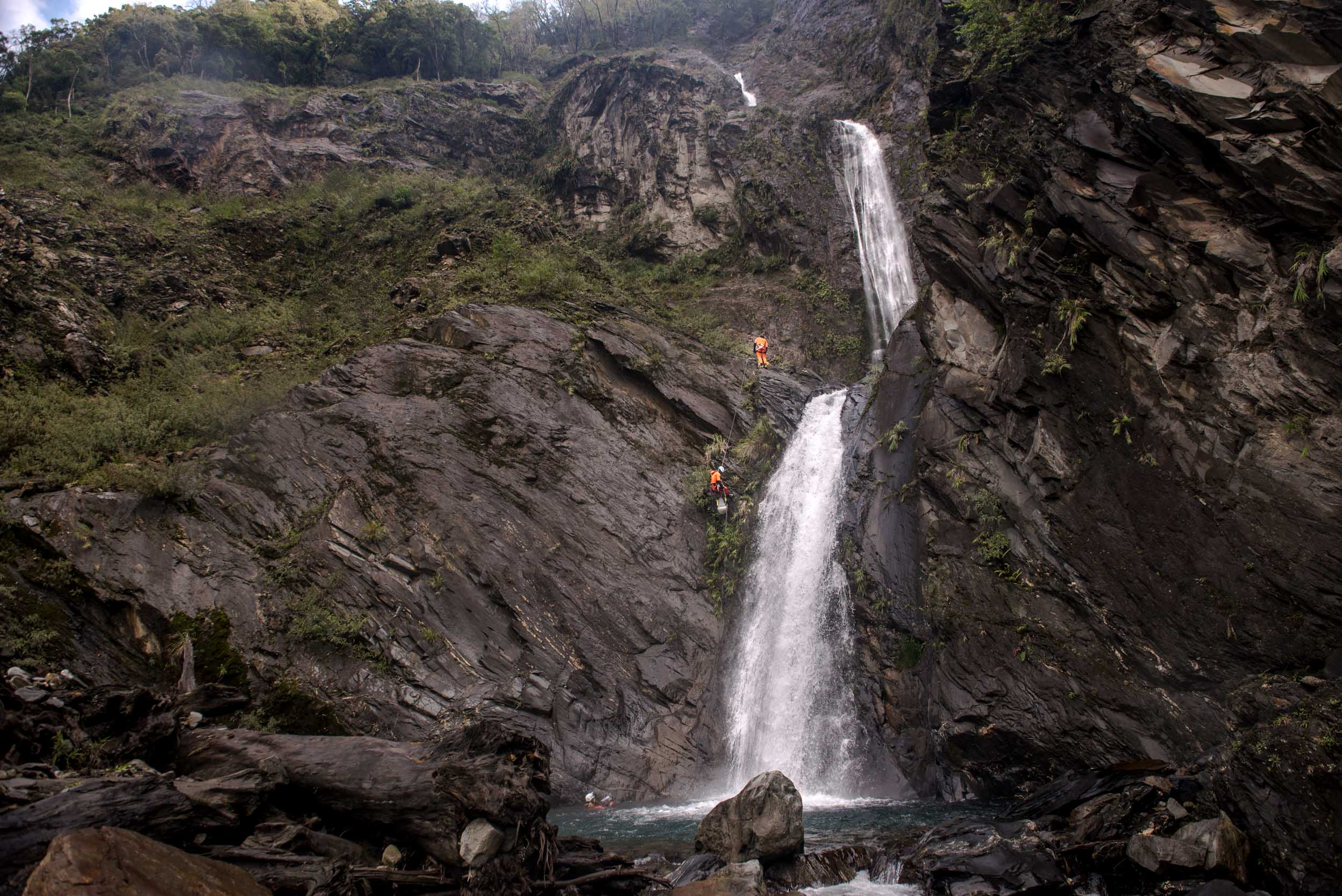 Waterfalls in Taiwan Canyoning Expedition
