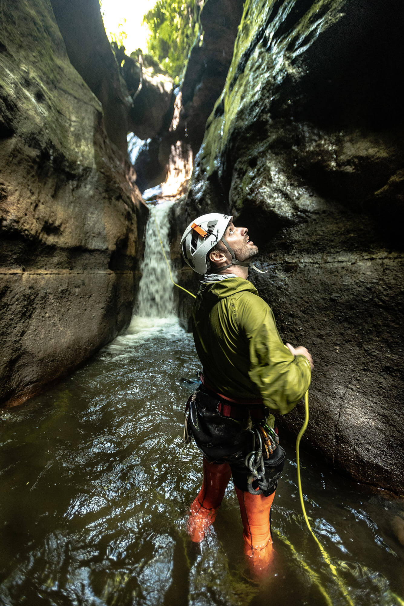 Rebelay canyoning editor Gus Schiavon looking up inside a canyon in Bali, Indonesia