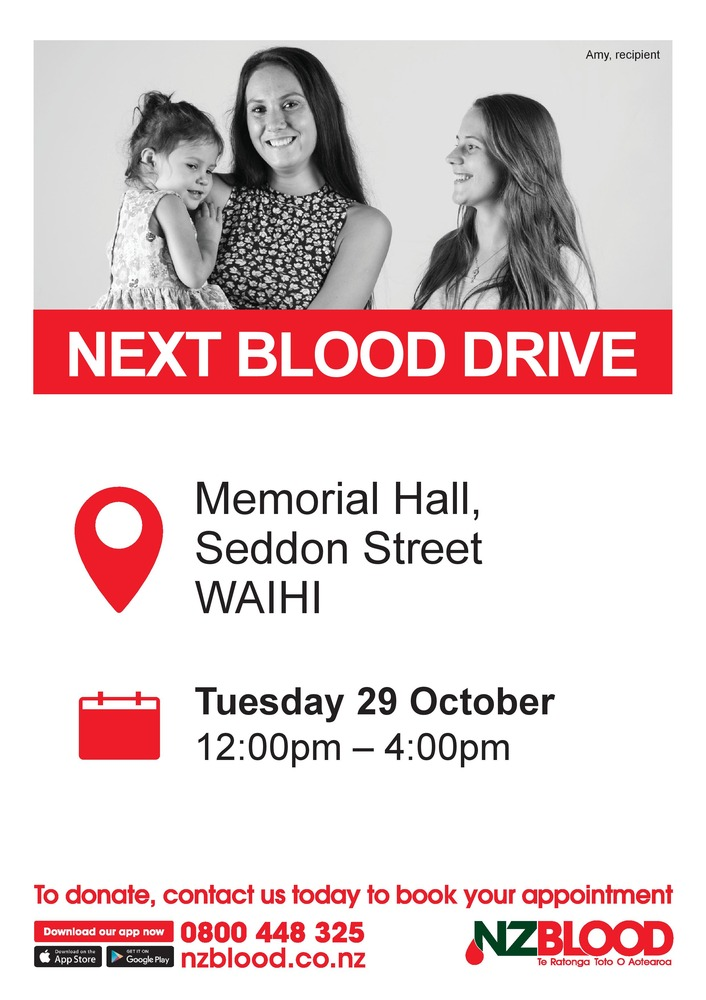 NZ Blood Service coming to Waihi October 29