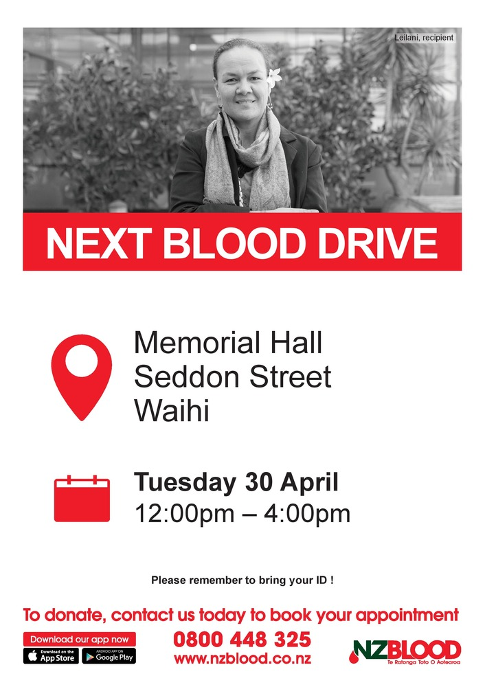The New Zealand Blood Service is coming to Waihi tomorrow