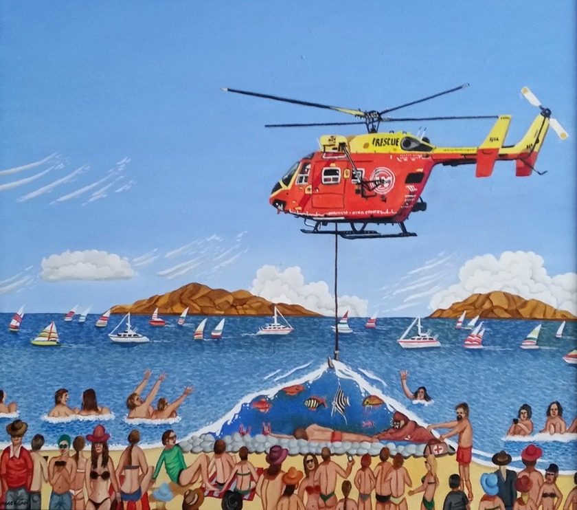 Local artist's treatment of helicopter rescue series