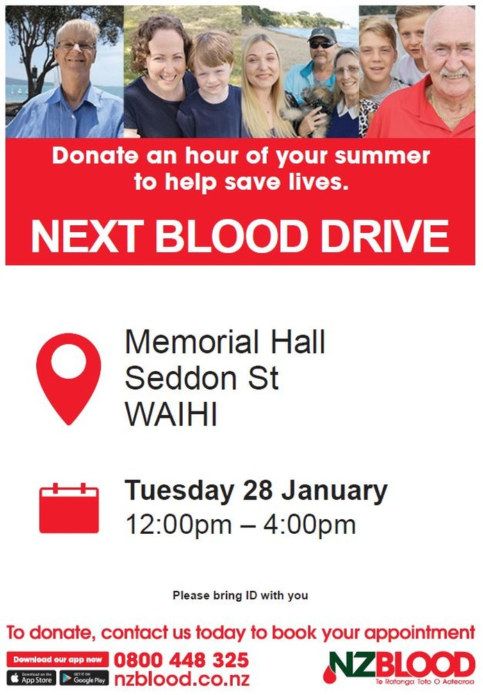 Every Drop Counts - NZ Blood Service visits Waihi today