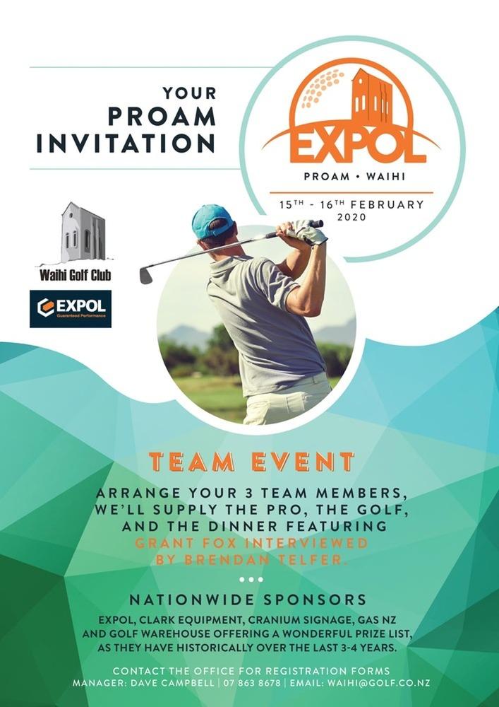 Waihi Golf Club Expol Pro Am 36 hole tournament tees off 15 February