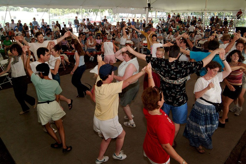 Getting  jiggy with it at Waikino Ceilidh