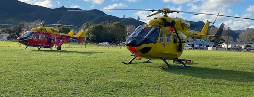 Two helicopters and an ambulance transport injured to hospital