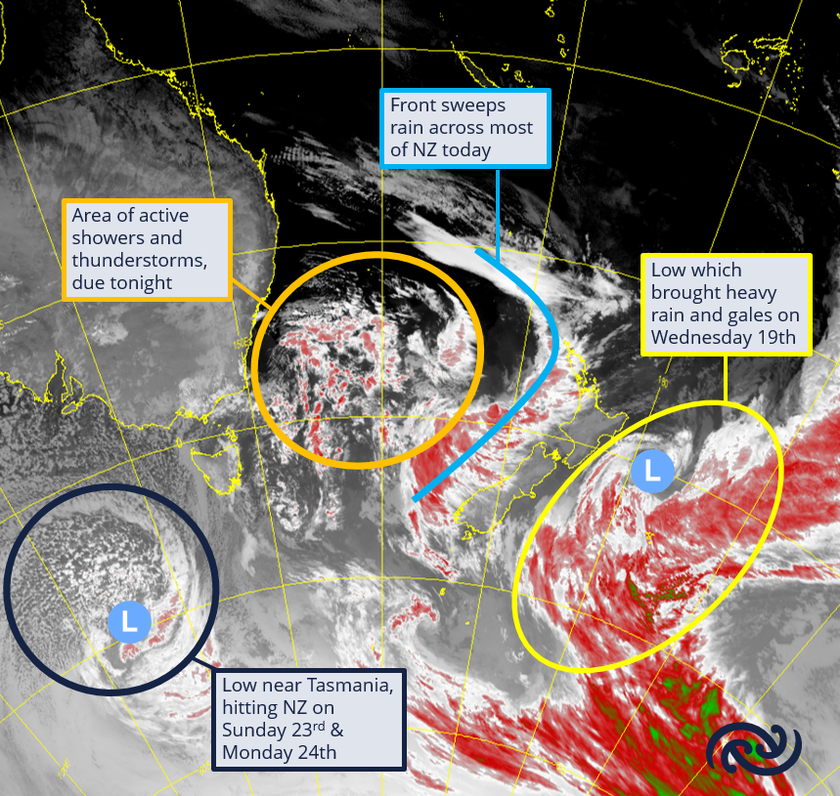 Active weather continues over New Zealand