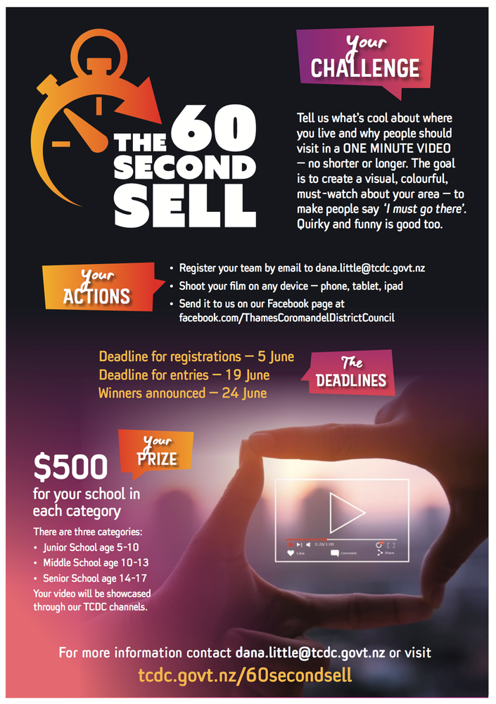 The 60 Second Sell challenge – School students chance to win $500 and showcase the Coromandel