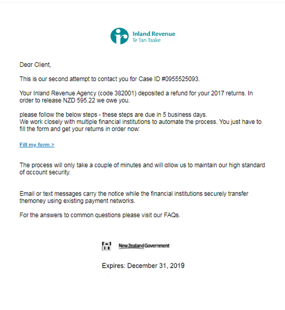 Beware the latest IRD scam email