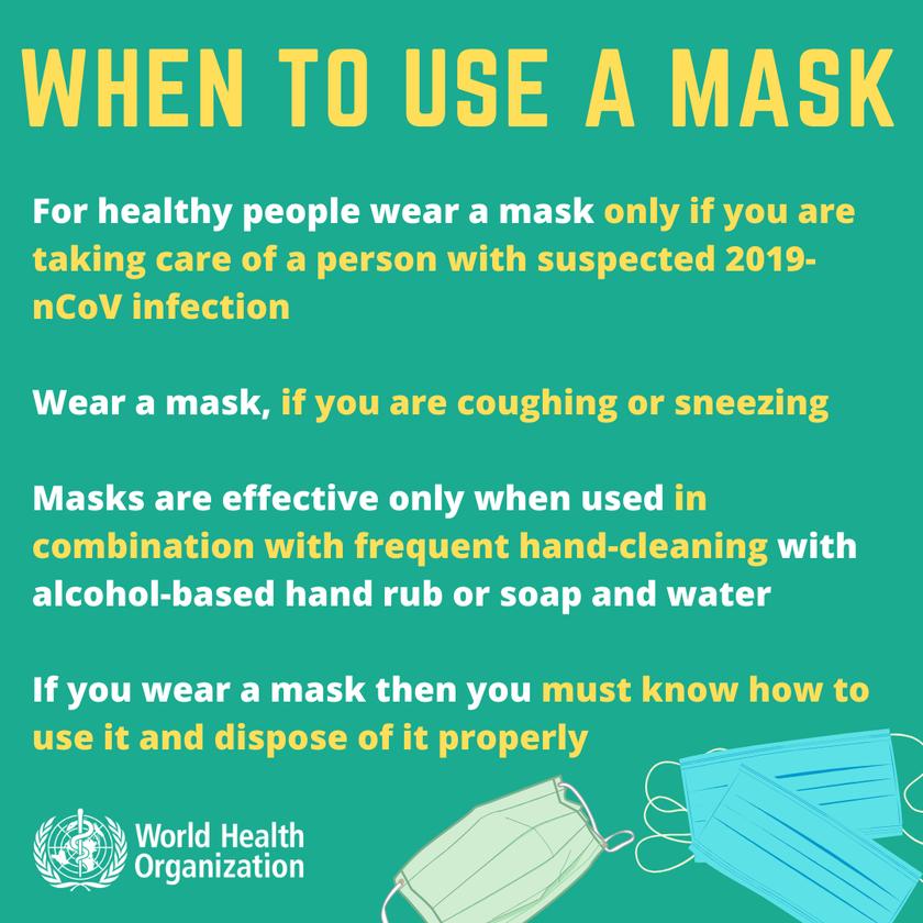 World Health Organisation information about wearing masks