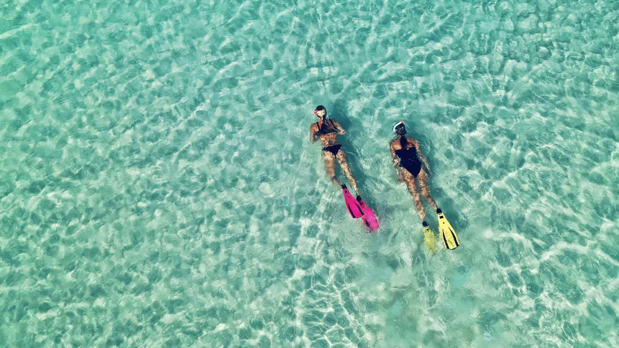 Two women scuba diving