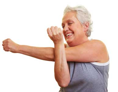 seniors doing arm stretches