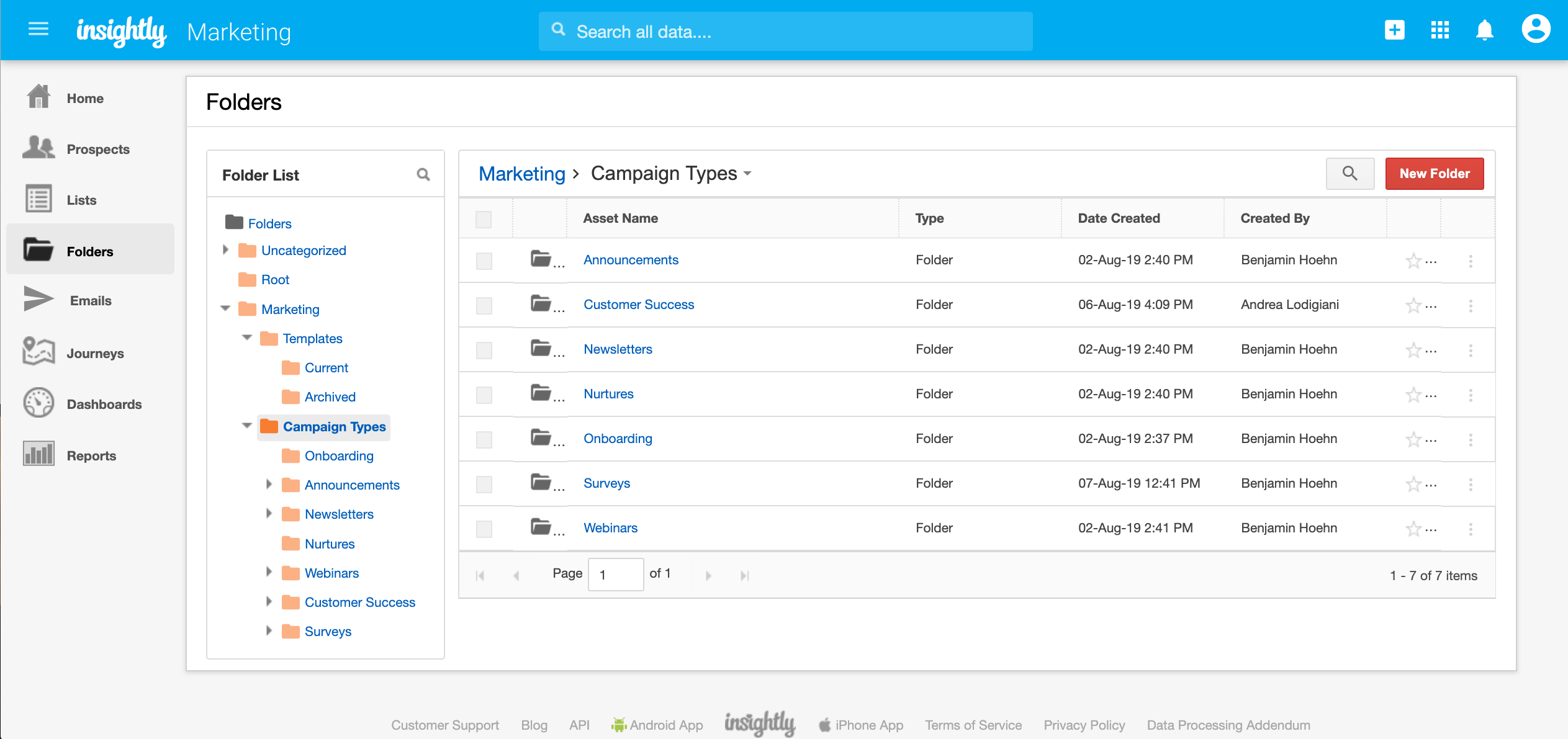 How to manage folders in marketing automation system