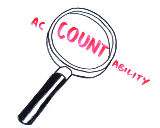 Magnifying glass hovering over the word accountability with part of word enlarged