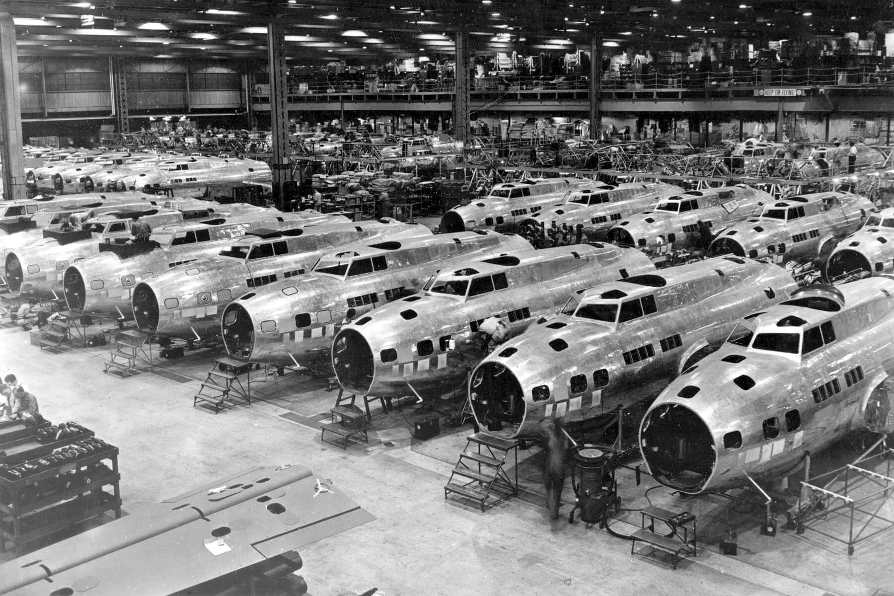 WW2 bomber on assembly line circa 1945