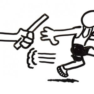 Sketch of hand passing batton to runner in relay race