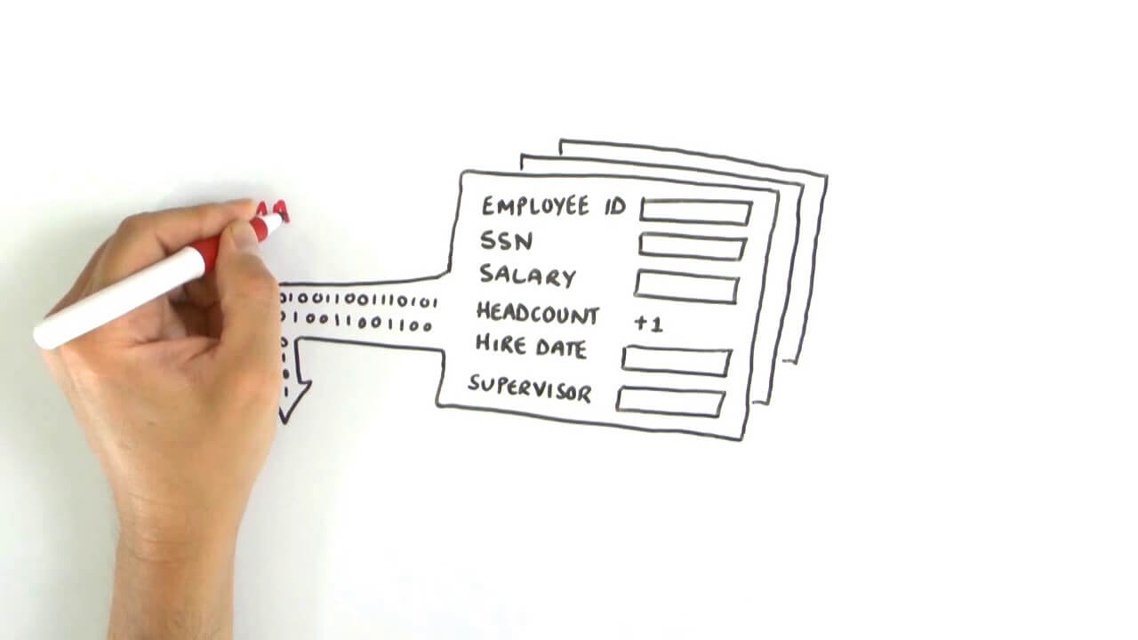 Whiteboard video with explaining the place of IT in business processes.