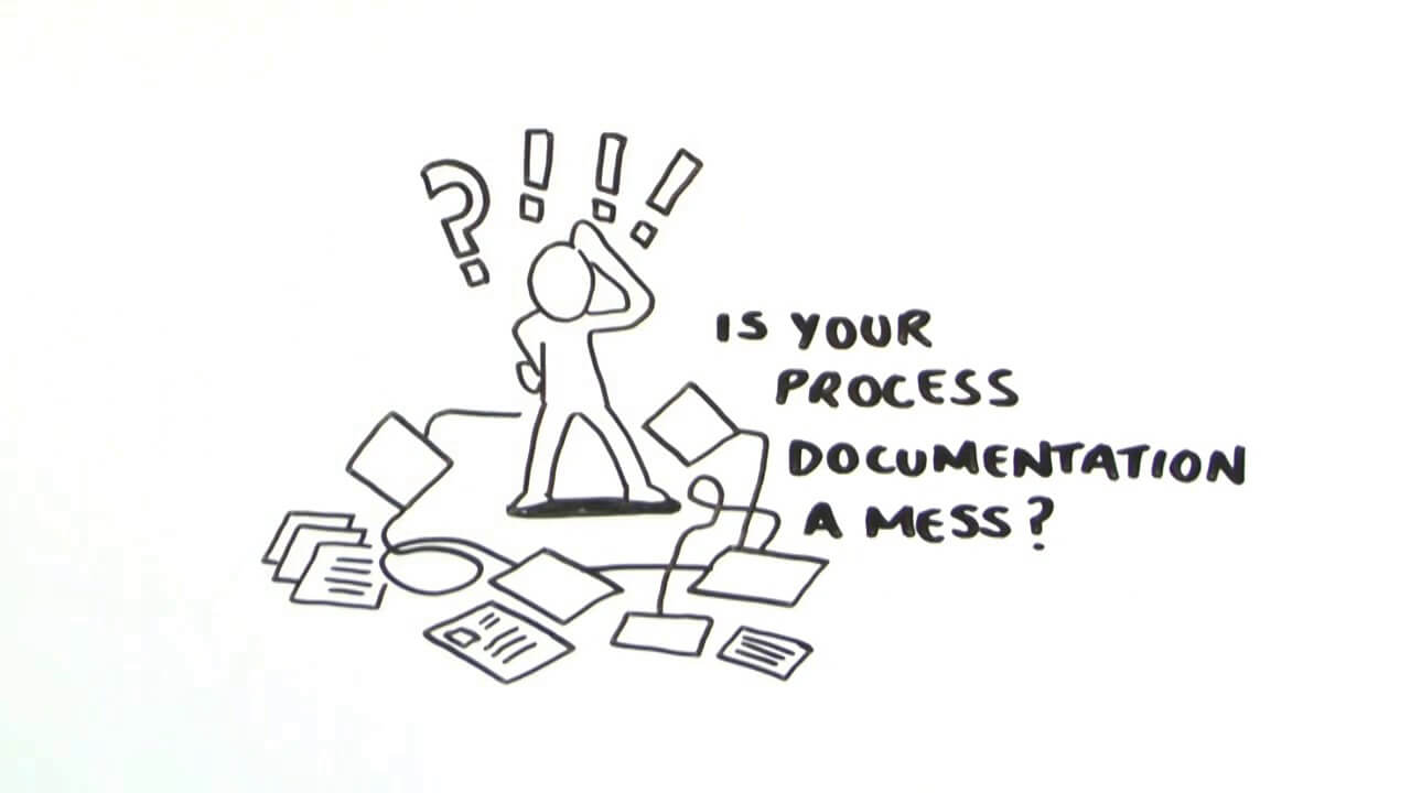 Sketch of figure looking at piles of paper process maps scattered around floor of office