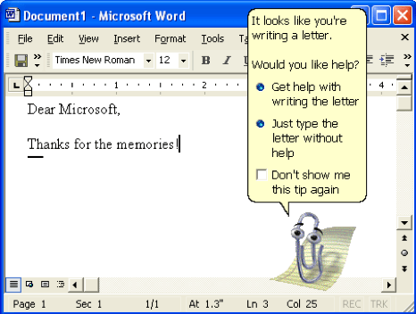 image showing Clippy, the Microsoft paperclip assistant