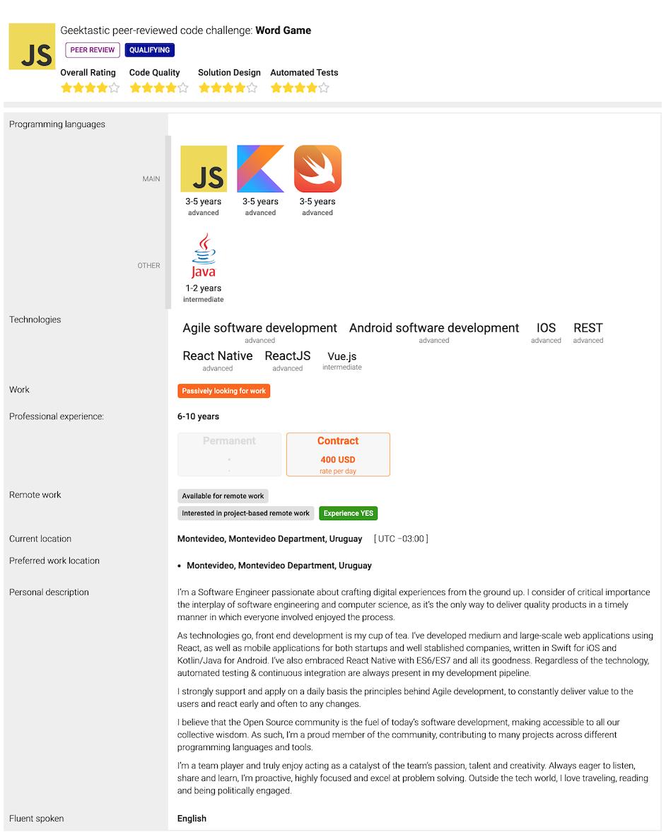 Remote Developer Profile