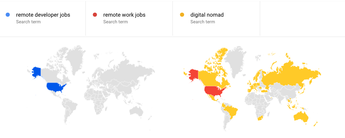 Java developer remote jobs Google Trends remote developers; remote work; digital nomads interest by region