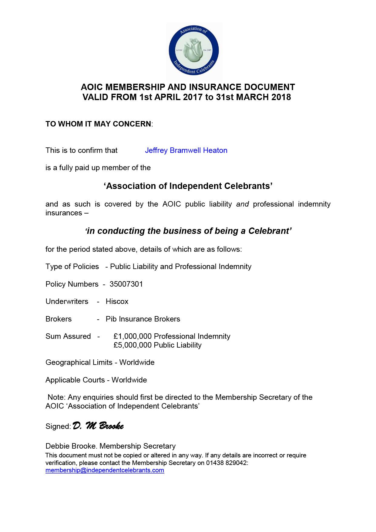 Jeff Heaton AOIC Certificate