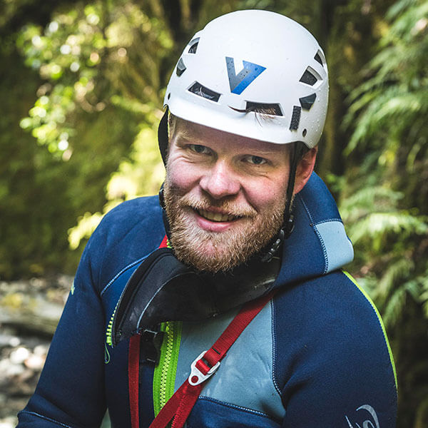 George is a professional canyoneer from Scotland, UK. He is co-founder of V7 Academy and co-owner of The Canyoning Company.