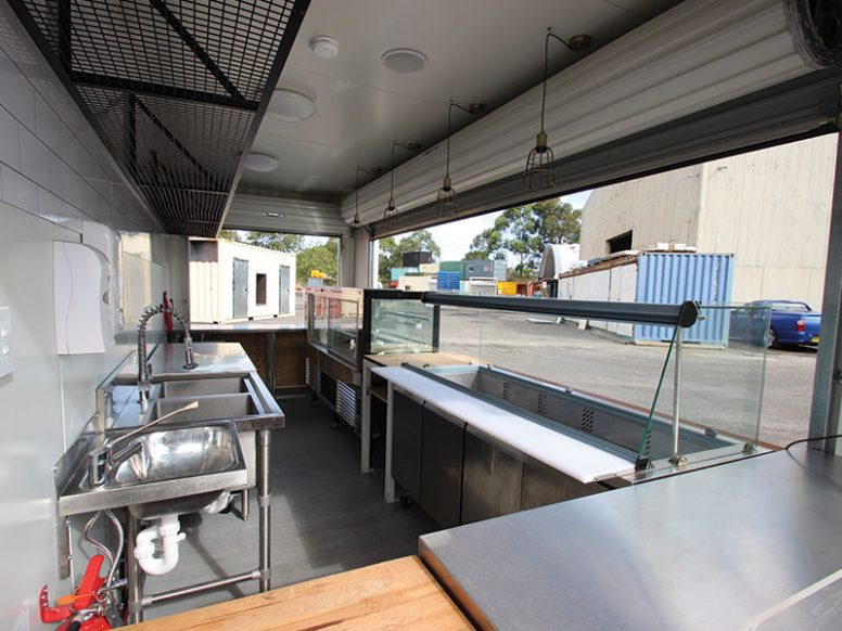 Kitchen build out inside shipping container