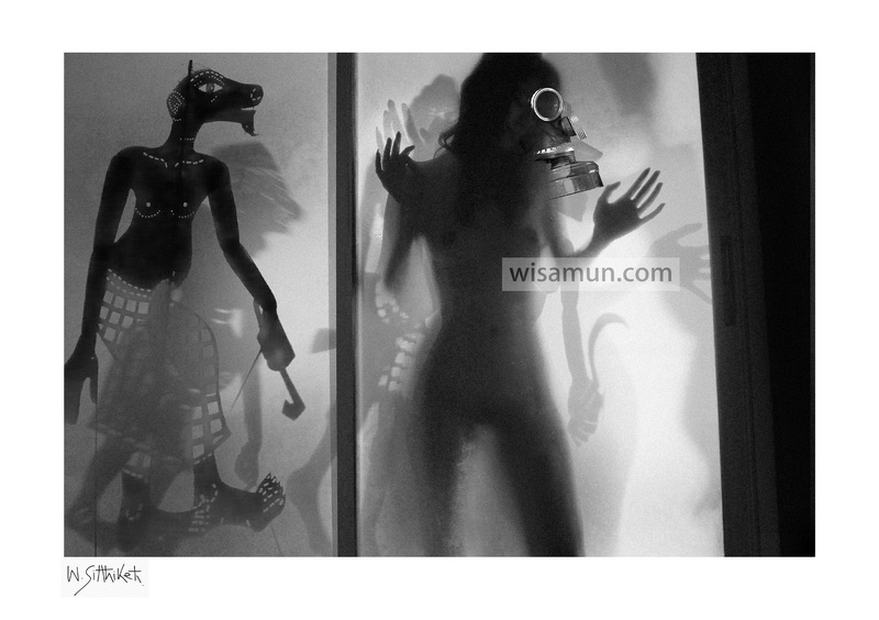 wisamun sitthiket - photography artwork - shadow puppetsshadowsblack & whitewomannude