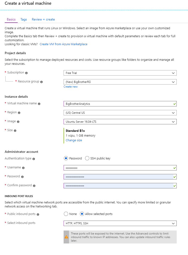 Azure create virtual machine