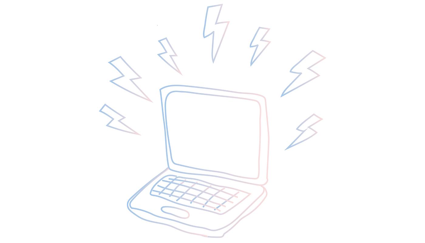 Pink Moon Studio Services Laptop Illustration w/Lightning Bolts