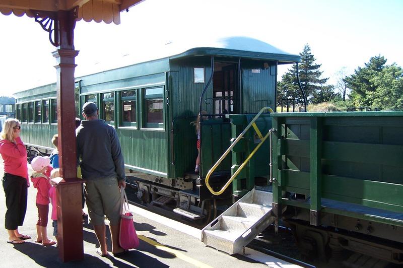 Boarding the train at Waihi Station