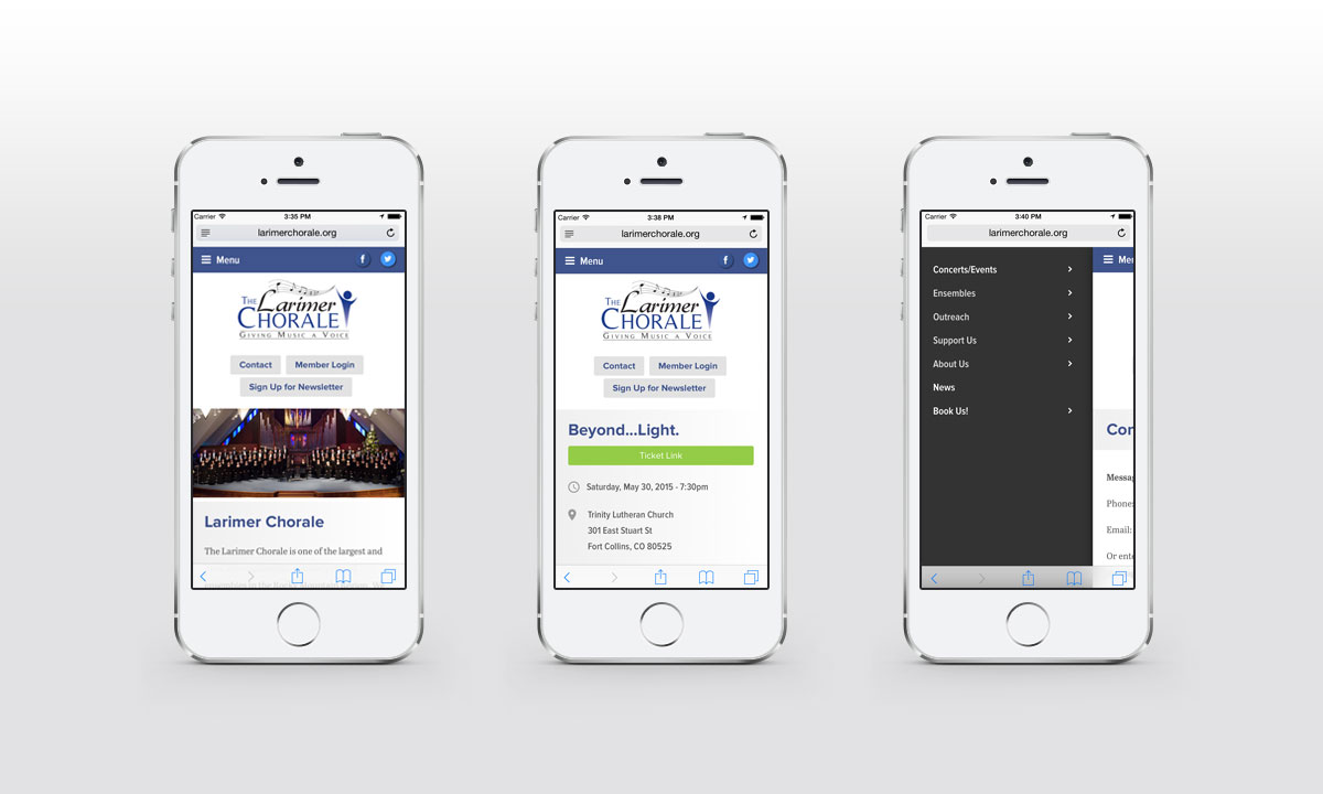 New Mobile Website Screenshots - The Larimer Chorale