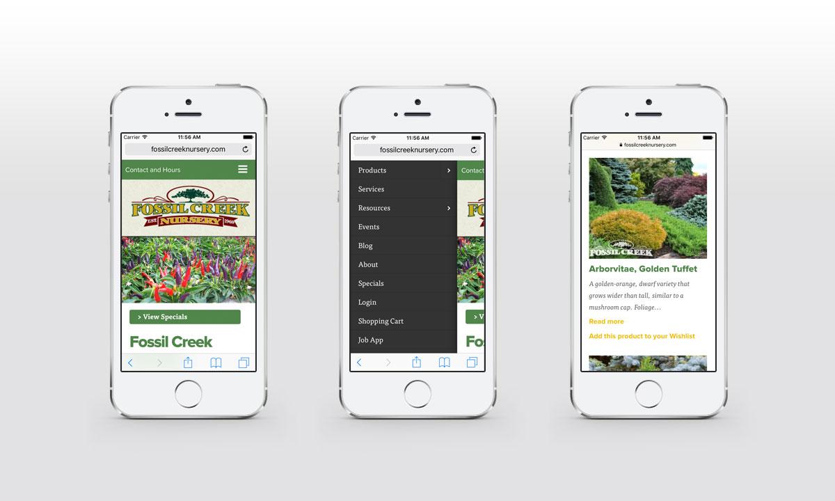 New Mobile Website Screenshots - Fossil Creek Nursery