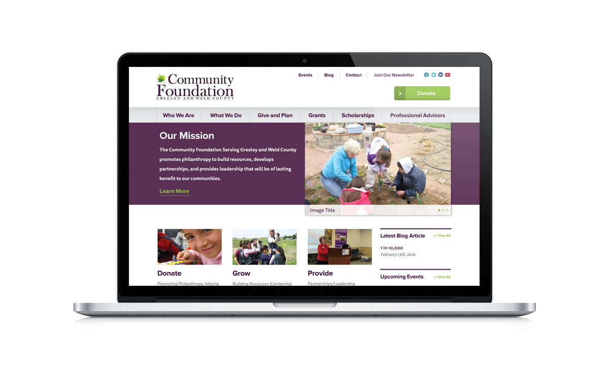New Desktop Website Screenshot - The Community Foundation Serving Greeley and Weld County