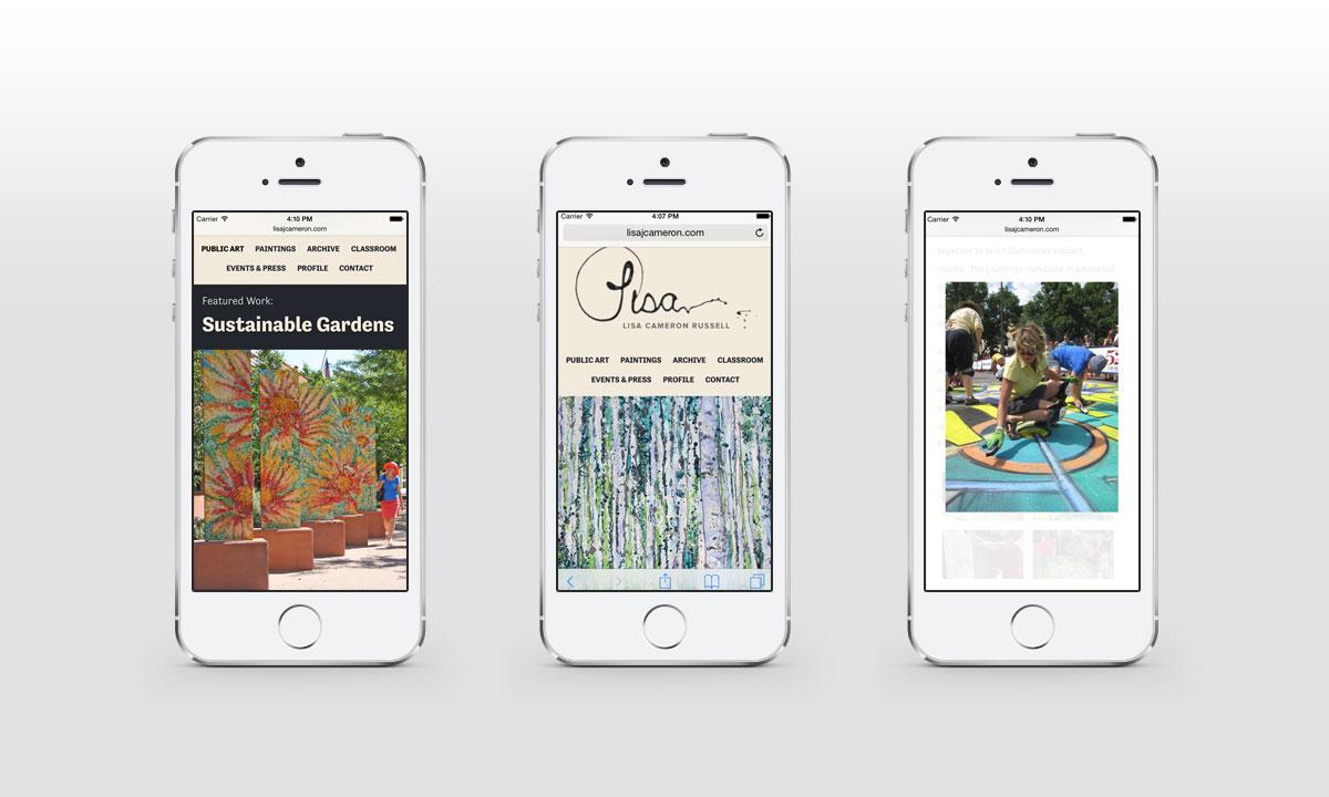New Mobile Website Screenshots - Lisa Cameron Russell