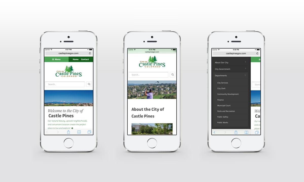 New Mobile Website Screenshots - City of Castle Pines